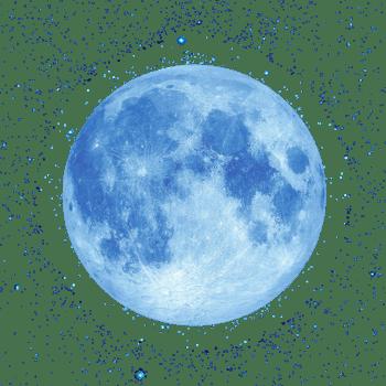 蓝色星空与圆月