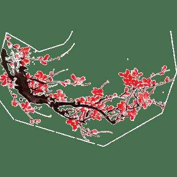 红色毛笔画国画梅花年画装饰一朵梅花