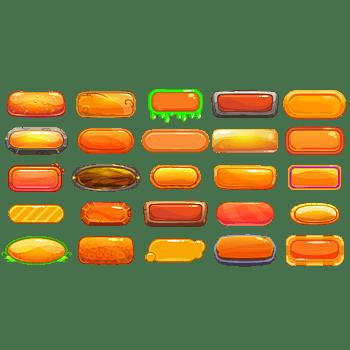 多款橙色系水晶效果矩形按钮框
