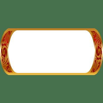 手绘白底金色花纹边框