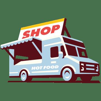 卡通食品路边摊外卖汽车超市