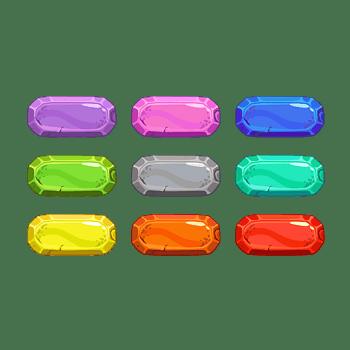 9款彩色水晶效果多边矩形按钮