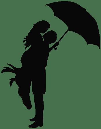 雨伞雨中拥抱男女剪影