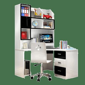 电脑桌架书柜组合