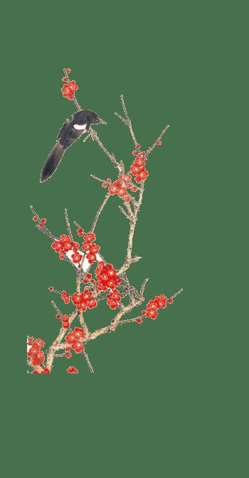 中国风红色手绘梅花