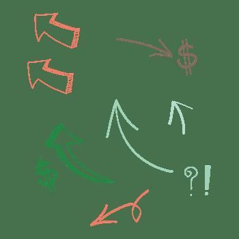 矢量手绘箭头美元问号感叹号
