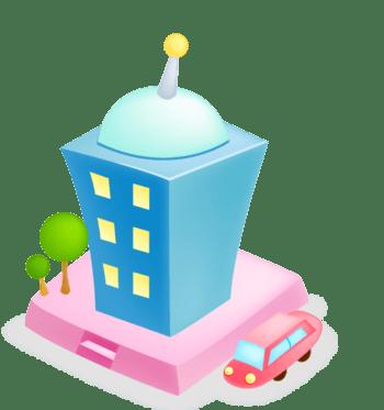 卡通城市房子