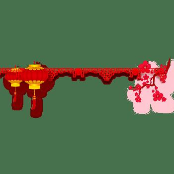 新年红色灯笼梅花线型边框