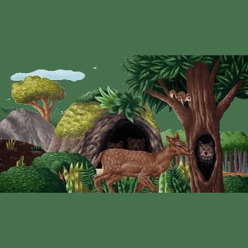 树林动物图案