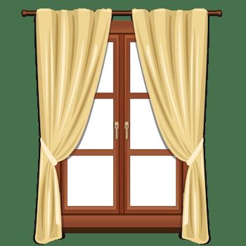 手绘两扇窗户黄色窗帘