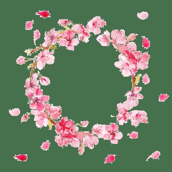 粉色手绘桃花花环素材