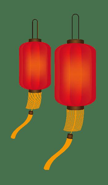 红色灯笼中国风年会装饰图案
