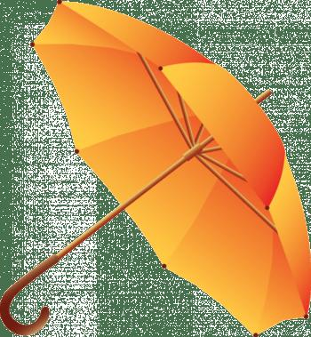 手绘橘色伞