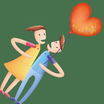 拿气球的情侣卡通手绘图标元素