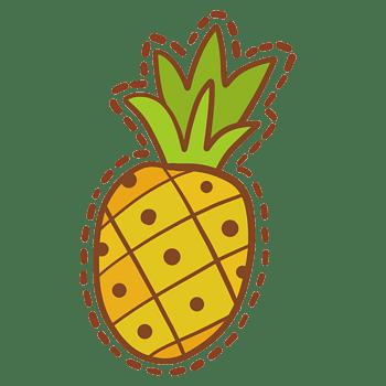 矢量水果俯视黄色卡通菠萝