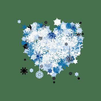 蓝色雪花组成心形