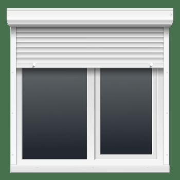 手绘两扇白色窗户