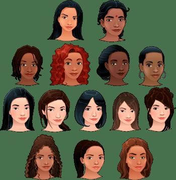 不同肤色的女人头像