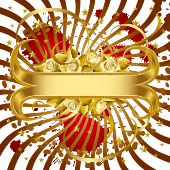 白玫瑰与金色banner矢量素材