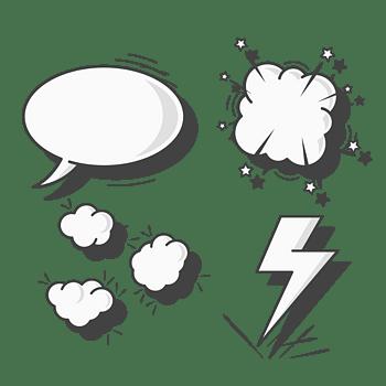 手绘爆炸云气泡对话框