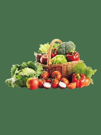 篮子里的蔬菜水果大拼盘
