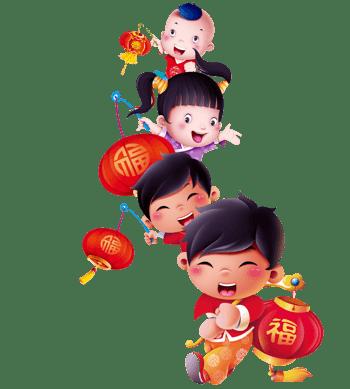 新年福娃福字艺术字灯笼矢量图