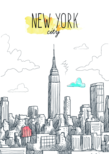 创意手绘纽约城市