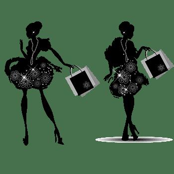 女人逛街剪影矢量元素合集