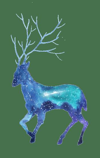 创意星空剪影鹿插画