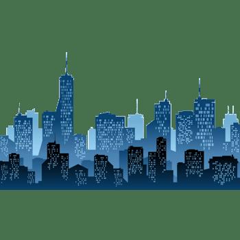 三层蓝色都市建筑剪影矢量素材