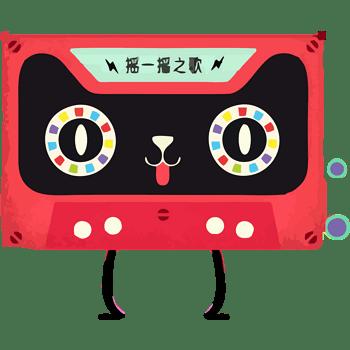 矢量红色天猫猫头音乐磁带