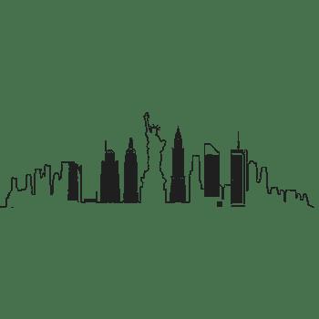 手绘城市风景banner矢量素材楼群