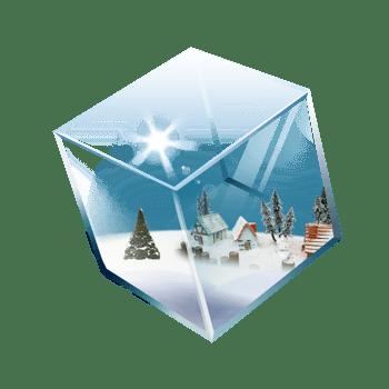 正方体玻璃盒子雪景