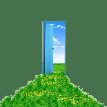 创意绿草前的大门