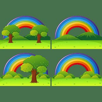 雨后彩虹的草地