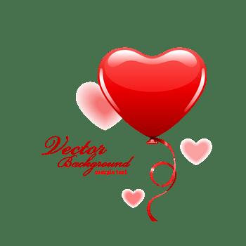 情人节心形气球矢量素材免费下载