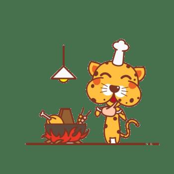 在烹饪的豹子