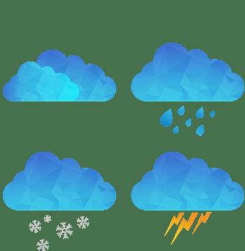 蓝色几何天气插件矢量图