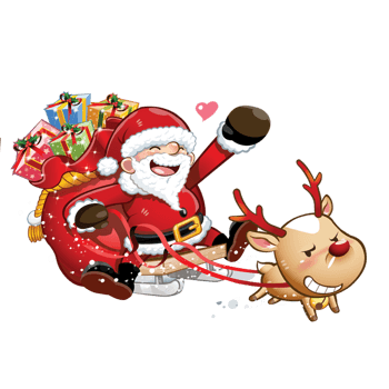 卡通圣诞老人雪橇麋鹿