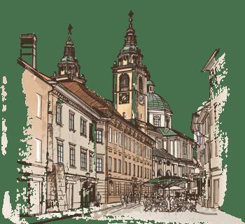 手绘水彩英国城市房子城堡欧式建筑