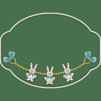 手绘简约不规则形状边框卡通兔子