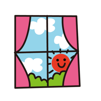 卡通窗户风景