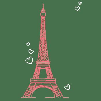 红色线条埃菲尔铁塔