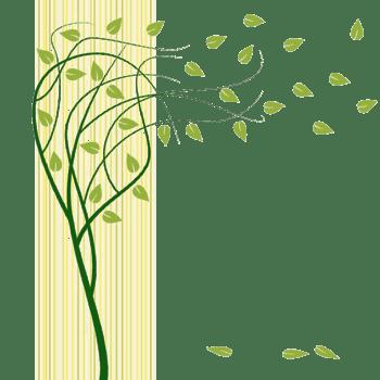 绿色手绘风吹落叶