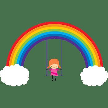 矢量图彩虹下的女孩