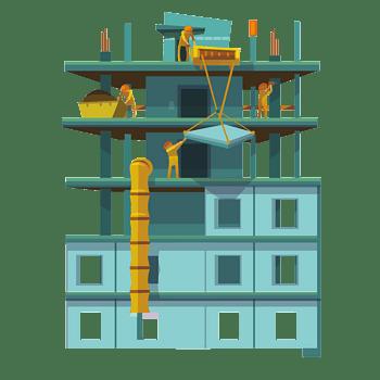 扁平建筑工地建房子场景图