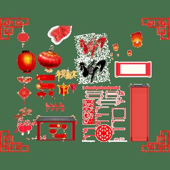 红色2017鸡年边框对联卷轴装饰部分边框