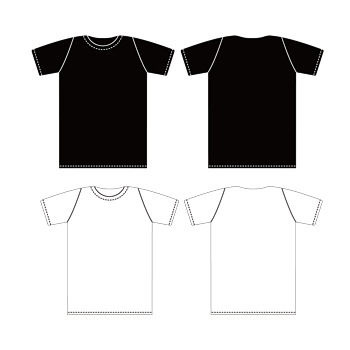 矢量黑白T恤正反面模板