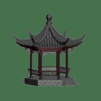中式六角亭3D设计