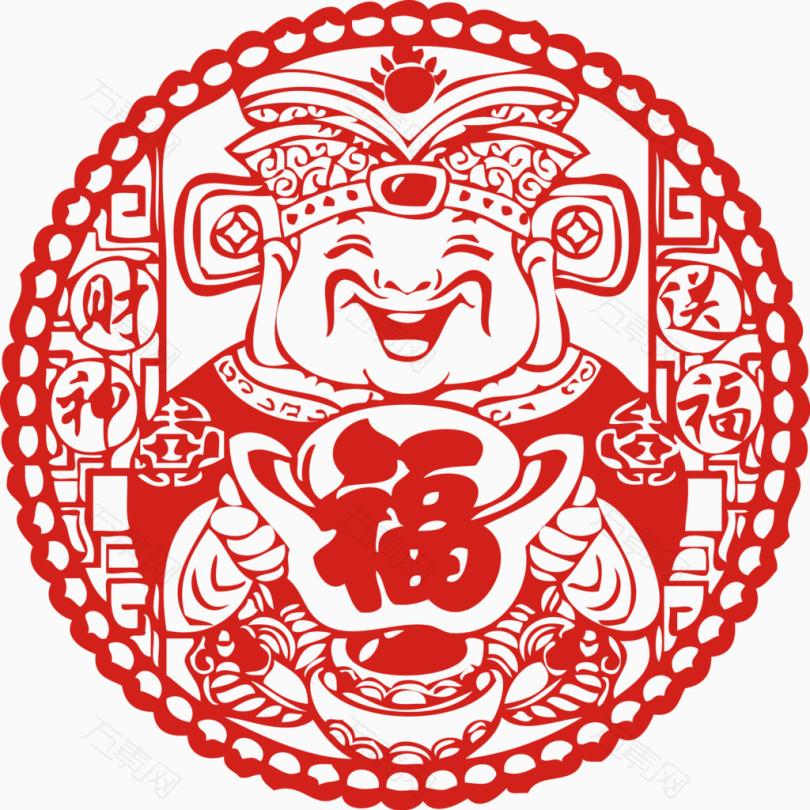 财神送福剪纸新年货贴纸春节